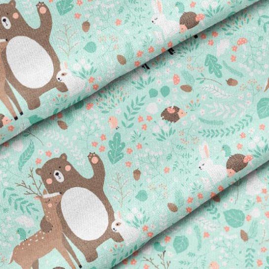 tessuto-di-cotone-premium-animali-nel-bosco-su-sfondo-menta