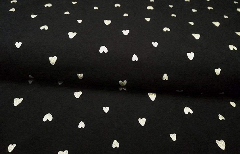 tessuto-felpa---cuoricini-d'oro-su-nero