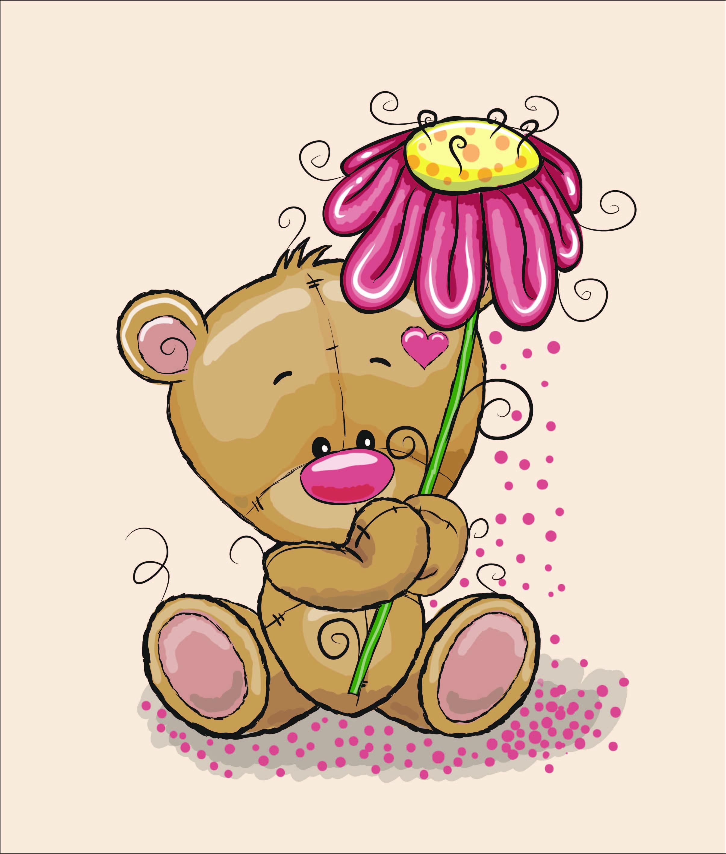 cotone-premium-pannello-xl-85x100-bear-with-flower