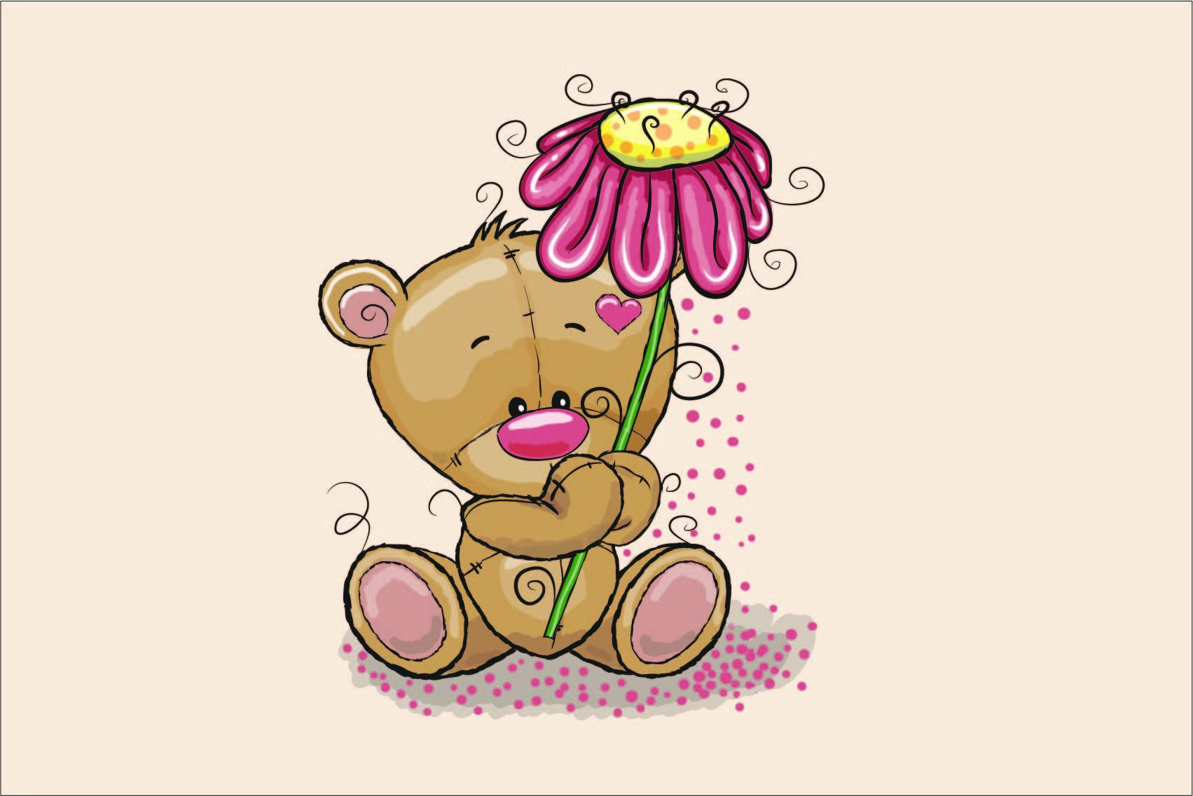 cotone-premium-pannello-l-60x40-bear-with-flower