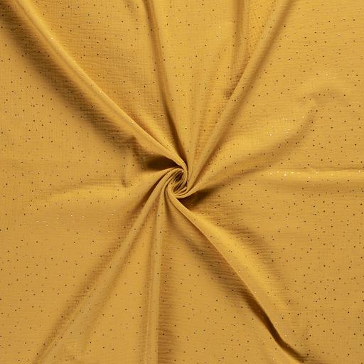 mussola-/-doppia-garza-di-cottone---mostarda-con-puntini-di-oro