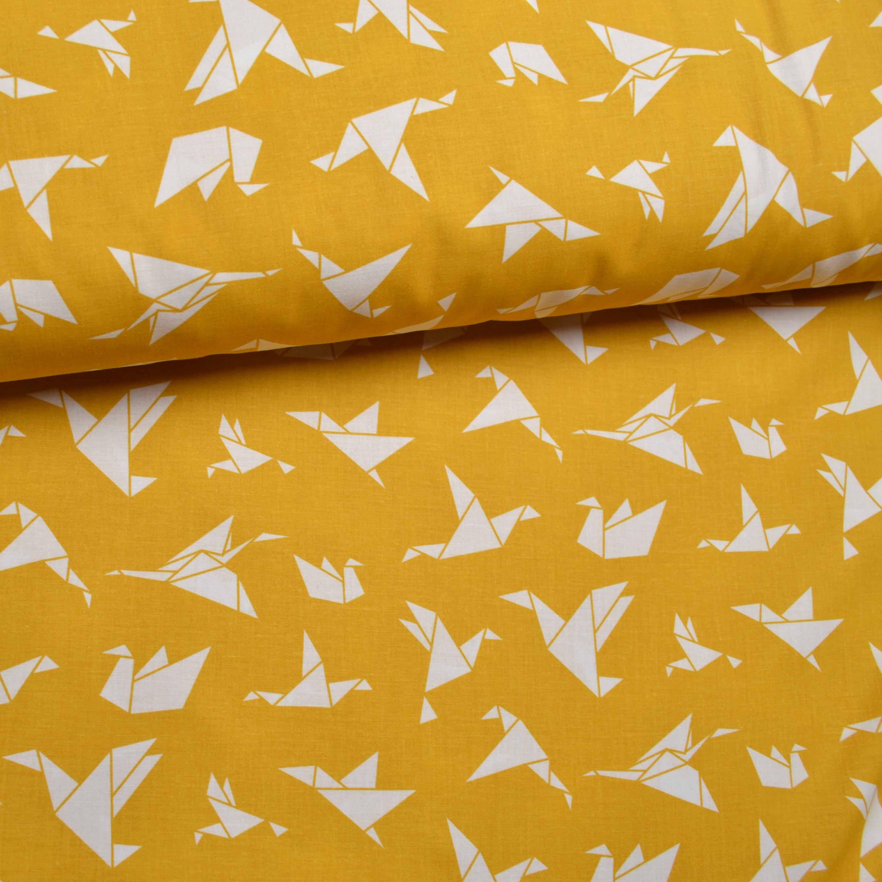 tessuto-di-cotone-origami-senape