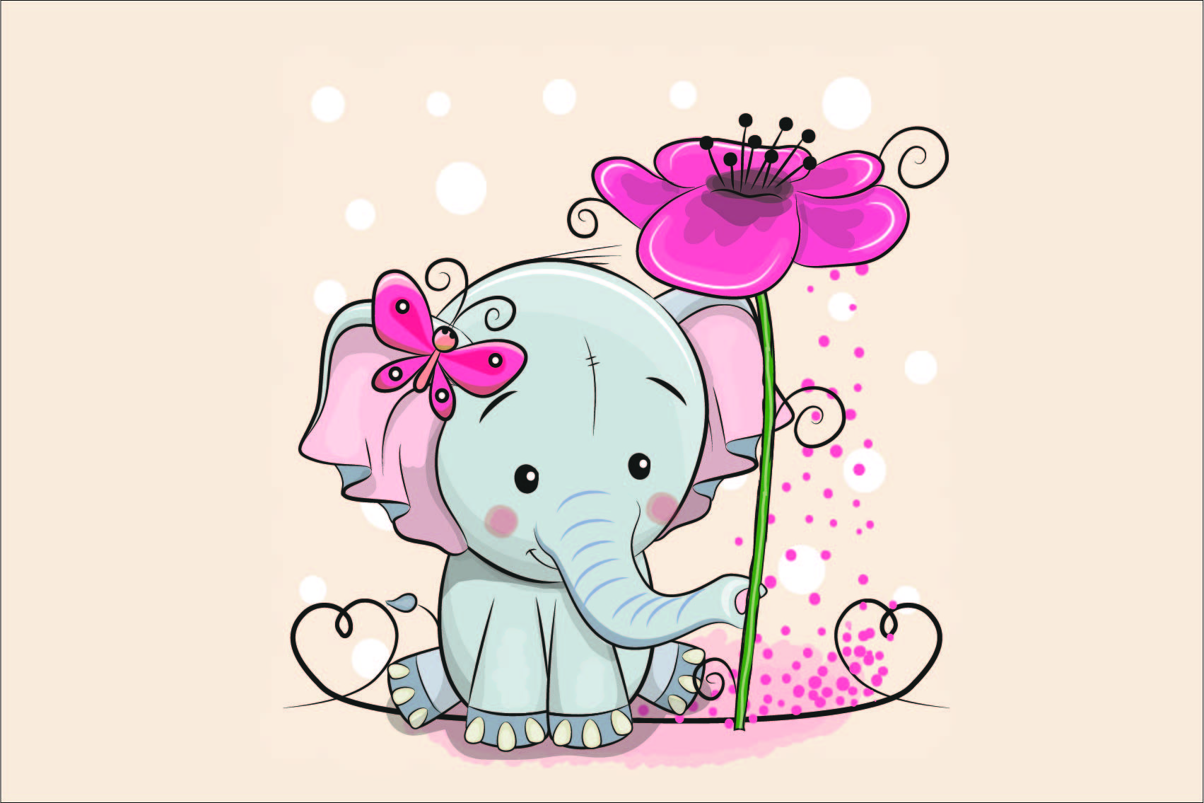 cotone-premium-pannello-l-60x40-elephant-with-flower