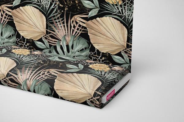 tessuto-di-cotone-premium-foglie-verdi-oro-nero