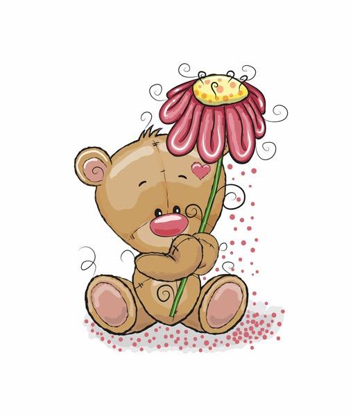 cotone-premium-pannello-xl-bear-with-flower---bianca