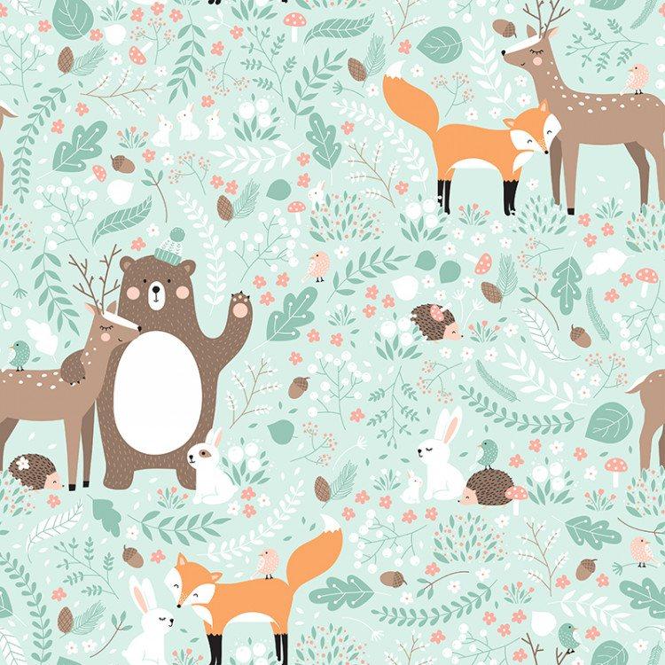 softshell-invernale---animali-nel-bosco-su-sfondo-menta