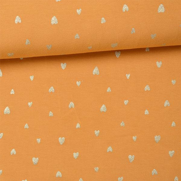 tessuto-jersey---cuoricini-d'oro-su-senape
