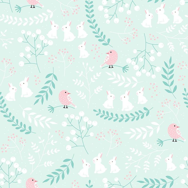 tessuto-di-cotone-premium-uccelli-rosa-nel-bosco-menta
