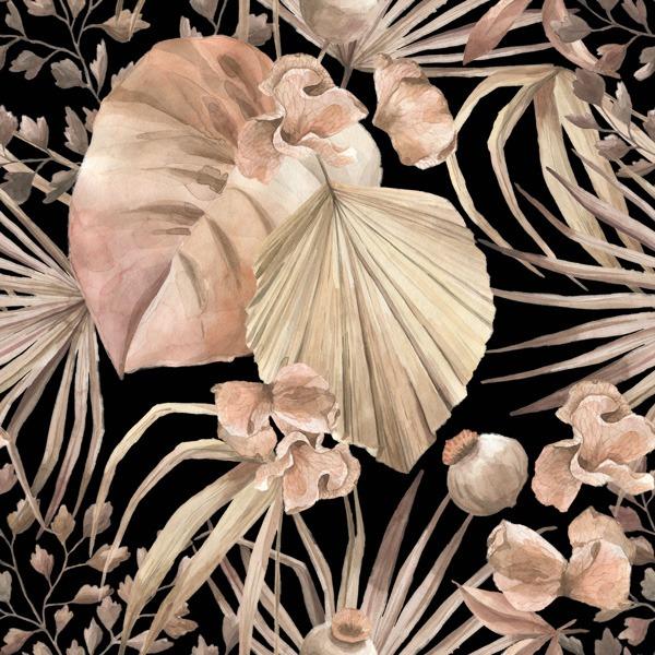 tessuto-di-cotone-premium-foglie-dorate-nere