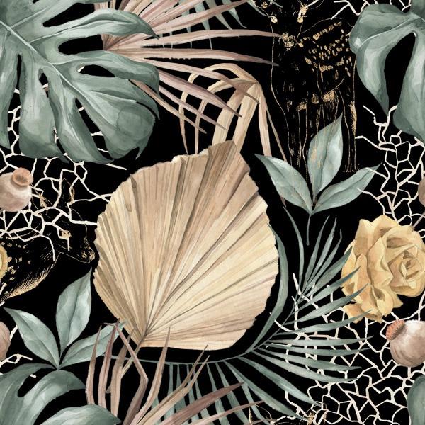 poliestere-impermeabile-td/ns-foglie-verdi-oro-nero